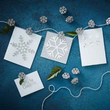 Silver Glitter Snowflake Christmas Card Holder
